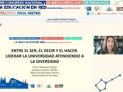 Comunicación sobre el liderazgo en las universidades atendiendo a la diversidad, presentada en el XVII Congreso Nacional y IX Iberoamericano de Pedagogía (online, 7 julio 2021)