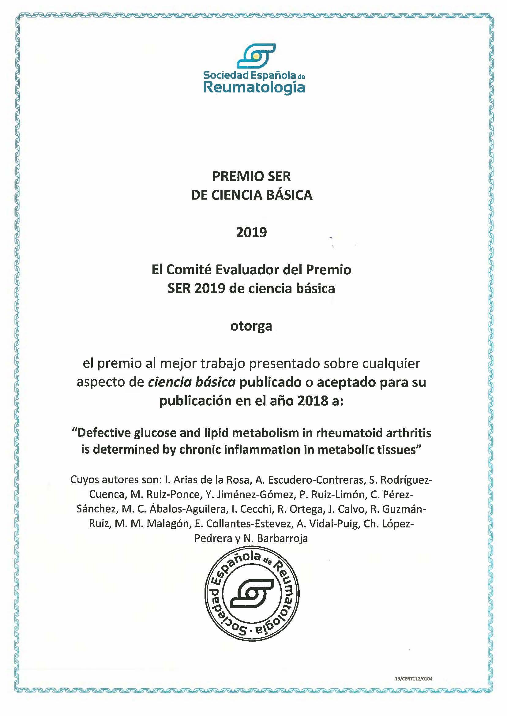 2019. SER. Ciencia Básica