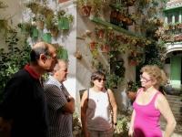 Investigadores participantes en La Noche conversan con la propietaria de unos de los patios participantes en la actividad