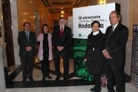 Un momento de a inauguración de la exposición conmemorativa en el Rectorado