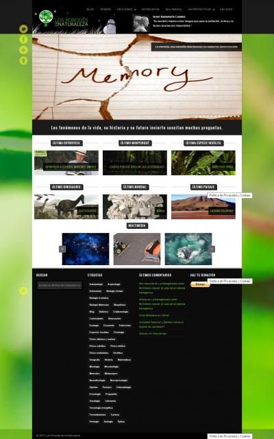 Captura de pantalla de la web Los Porqués de la Naturaleza