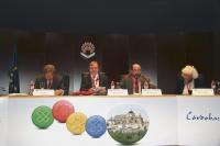 De izquierda a derecha, Sami Naïr, Juan Luis Cebrián, Manuel Torres y Nawal al Saadawi