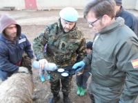 En el centro, Librado Carrasco, tomando muestras para un cultivo
