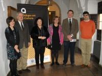 De izq a dcha : Carmen Liñán,Jose Morillo Velarde, Gloria Martínez, Rosario Puerta, Eulalio Fernández y Miguel Ángel Sánchez