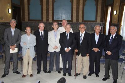 Integrantes de la Academia Andaluza de Ciencia Regional durante su reunión en el Rectorado de la UCO