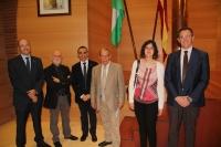 De izquierda a derecha, Antonio Cubero, Pedro Ruiz, Alfonso Zamorano, Ángel Estévez, M. Jesús López y Eulalio Fernández.