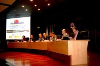 Mesa inaugural de las jornadas sobre humedales que acoge el Rectorado de la UCO