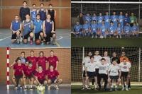 Cuadro de honor, arriba de izquierda a derecha, baloncesto y fútbol 11, abajo, fútbol sala y fútbol 7.
