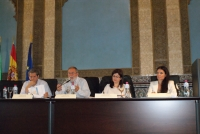 Pedro Montero, Rafael Ayuso, Rosa Aparicio y Marisol Chacón durante la celebración de la asamblea