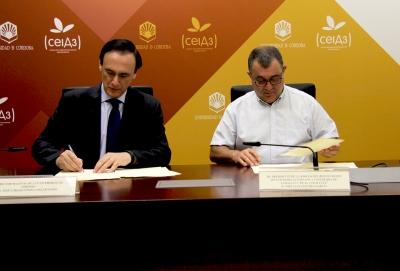 De izquierda a derecha, José Carlos Gómez Villamandos y José Luis Sánchez García, durante la firma del convenio.