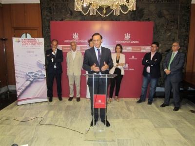 El rector José Carlos Gómez Villamandos, durante su intervención en la presentación del Congreso