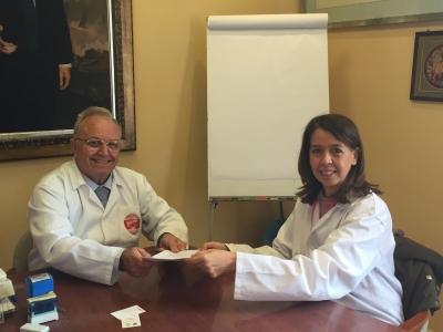 Rosario Moyano y Ramón Soler, en la firma del acuerdo.