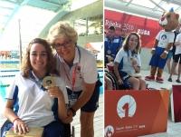 Rocío, con las dos medallas de oro, y junto a Esperanza Jaqueti