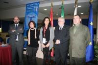 De izda. a dcha,, Manuel Torres, Alba Doblas, Carmen Ruiz, Rafael Solana y Luis Montiel, en la inauguración del simposio.