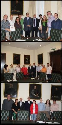 De arriba a abajo, el rector y el vicerrector de Personal con representantes de CCOO, CSIF y UGT.