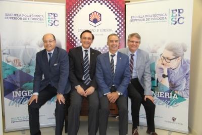 De izquierda a derecha, Antonio Cubero Atienza, José Carlos Gómez Villamandos, Juan J. Luna Rodríguez y Lorenzo Salas Morera, en la presentación de la nueva imagen corporativa de la EPSC