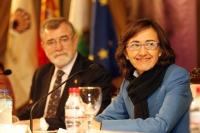 Jose Manuel Roldán y Rosa Aguilar momentos antes de la conferencia