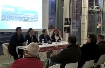De izquierda a derecha, Antonio Monterroso Checa, el rector de la Universidad de Córdoba, el alcalde de Peñarroya-Pueblonuevo y Francisca Vicente, Gerente del GDR-Guadiato.