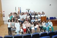Alumnos, profesores y autoridades, finalizado el acto de clausura