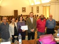 De izq a dcha:Antonio Monterroso, Concepción Hermosilla, Mª Ángeles Hermosilla,  Eulalio Fernández, Antonio Gómez y Bernd Dietz