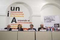 De izquierda a derecha, Miguel Ángel Moratinos, Rosa Aguilar, Eugenio Domínguez y Manuel Torres.