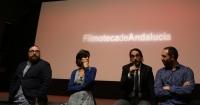 De izquierda a derechas, el productor Óscar Huertas, la coordinadora de la UCCi Elena Lázaro y los directores Emilio García y Manuel González