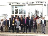 Foto de familia de autoridades asistentes al acto organizado con motivo de la festividad de la patrona de la EPS de Belmez