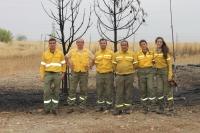 El equipo de la Universidad de Córdoba tras unas prácticas de quema controlada