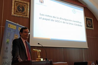 Alberto Marinas, director adjunto al Vicerrectorado de Investigación de la Universidad de Córdoba, en su intervención en el Congreso Internacional Rescate