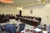 El rector, durante su informe, en la sesión del Consejo de Gobierno celebrada hoy