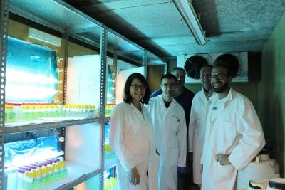 Grupo de investigación de la UCO que trabaja en torno a la biología de bacterías marinas en una cámara con muestras