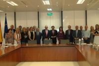 El consejero de Economía junto a los miembros del Pleno de los Consejos Sociales de las Universidades andaluzas.