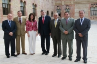 De izq a dcha:Pedro Molina, Diego Sales, Susana Guitar, Jose Manuel Roldán, Manuel Parras, Francisco Martínez y Juan Jose Ruiz