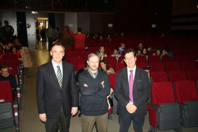 José Carlos Gómez, Ignacio Fernández Bayo y Justo Castaño Fuentes en la inauguración de Divulga3