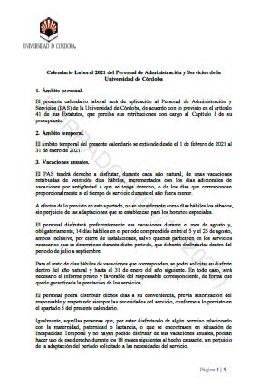 Propuesta UCO Calendario Laboral 2021 del Personal de Administración y Servicios de la Universidad de Córdoba