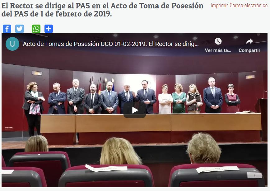 El Rector se dirige al PAS en el Acto de Toma de Posesión del PAS de 1 de febrero de 2019.