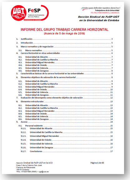 INFORME DEL GRUPO TRABAJO CARRERA HORIZONTAL