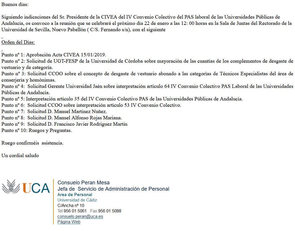 ConvocatoriaCIVEA 22 01 2020, remitida el 13 de enero de 2020