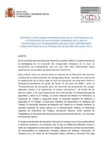 Criterio 3/2020 sobre determinación de la contingencia de la situación de incapacidad temporal