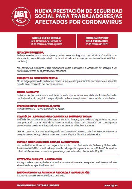 NUEVA PRESTACIÓN DE SEGURIDAD SOCIAL PARA TRABAJADORES/AS AFECTADOS POR CORONAVIRUS