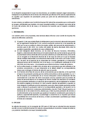 Comunicación UCO al CE de 20 de mayo de 2020