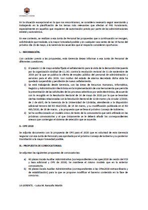 Comunicación UCO a la JUNTA PAS de 20 de mayo de 2020
