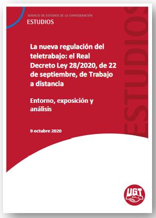 Informe Servicios Estudios UGT sobre nueva regulación del Teletrabajo (09/10/2020)