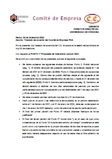 Acuerdo Calendario CE PAS Laboral 04-12-2020