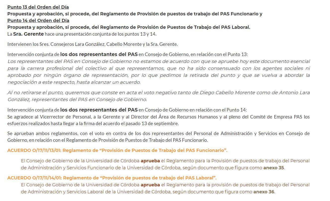 """Ejemplo de actuaciones de los representantes del PAS en Consejo de Gobierno: ¿Qué hicieron cuando se aprobó el Reglamento de """"Provisión de Puestos de Trabajo del PAS Funcionario"""" ?"""