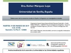 Seminario-taller impartido por Esther Márquez sobre el proyecto I+D INCLUNI en Buenos Aires (19-3-2019)
