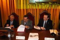 De izquierda a derecha, Victor Cruz, director gral AUIP, Pedro Hernández,  vicerrector de Postgrado  de la BUAP y Jose C. Gómez Villamandos, vicerrector de Estudios de Postgrado y Formación continua de la UCO