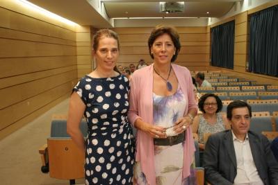 La gerente del ceiA3, Lola de Toro, y la directora de la OTRI, Carmen Tarradas
