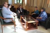 Reunión del rector y la vicerrectora de Relaciones Internacionales con la delegación de la Pontificia Universidad Javeriana de Bogotá