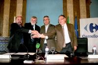 De izquierda a derecha, Manuel Torres, José Manuel Roldán, Pascal Clouzard y Arturo Molinero, tras la firma del acuerdo